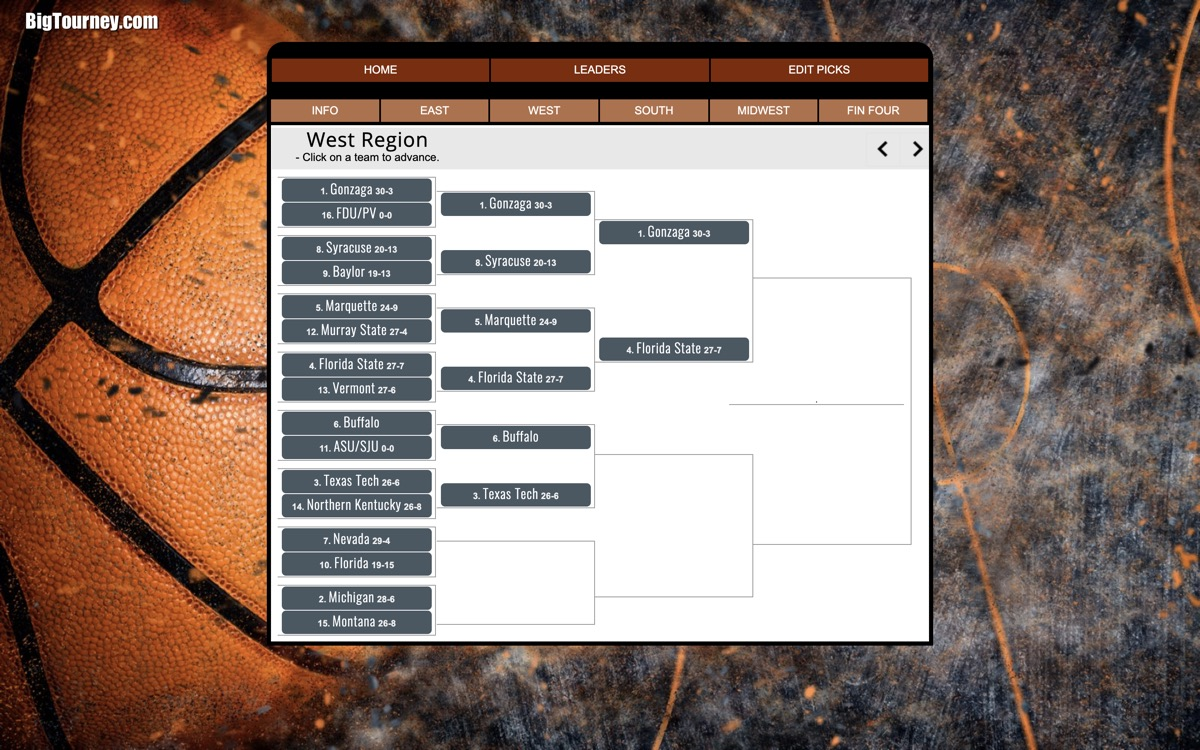 bracket pool manager screen